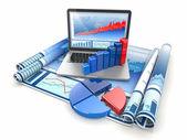 Analyser les affaires. ordinateur portable, graphique et diagramme. — Photo