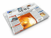 News. Folded newspaper on white isolated background — Stock Photo