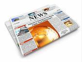 News. Folded newspaper on white isolated background — Stock Photo