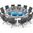 Stock Photo: Conference table with laptops and armchairs