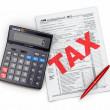 Time for taxes. Tax Return 1040, calculator and pencil — Stockfoto