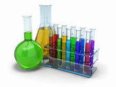 Cientific research. Glass test tubes with reagent — Stock Photo
