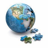 Conceito de globalização. quebra-cabeças da terra. 3d — Foto Stock