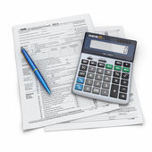 Tax Return 1040, calculator and pen. 3d — Stock Photo