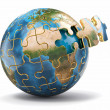 Concept of Globalization. Earth puzzle. 3d — Stock Photo #22832892