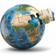 Stock Photo: Concept of Globalization. Earth puzzle. 3d