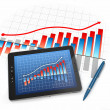 Digital tablet pc with financial chart and graph — Stock Photo
