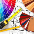 图库照片: Interior design. Architectural materials tools and blueprints