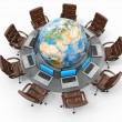 Concept of global business communication. Laptops and armchairs around table with earth - Stock Photo