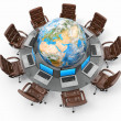 Stock Photo: Concept of global business communication. Laptops and armchairs around table with earth