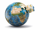 Concept of Globalization. Earth puzzle. 3d — Stock Photo