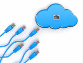 Cloud computing concept. Rj-45 plugs on white background. — Stock Photo