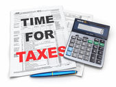 Time for taxes. Tax Return 1040, calculator and pencil — Stock Photo