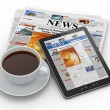 Stock Photo: Morning news. Tablet pc, newspaper and cup of coffee