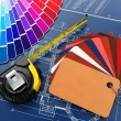 Interior design. Architectural materials tools and blueprints - Photo
