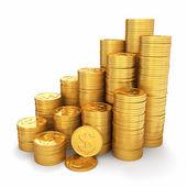 Rijkdom. piramide van gouden munten op witte achtergrond. 3d — Stockfoto