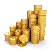 Wealth. Pyramid from gold coins on white background. 3d — Stockfoto