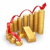 Business concept. Grow in the gold price. — Stock Photo