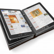 Newspaper or magazine from tablet pc — Stock Photo