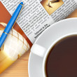 Coffee cup, newspaper and pen on table — Stock Photo