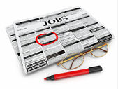 Search job. Newspaper with advertisments, glasses and marker. — Stock Photo