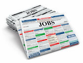 Search job. Newspapers with advertisments. — 图库照片