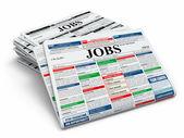 Travail de recherche. journaux avec publicités. — Photo