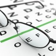 Eyeglasses and eye chart - Stockfoto