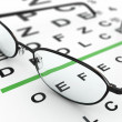 Eyeglasses and eye chart - Lizenzfreies Foto