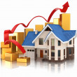Growth of real estate market House and graph. - 图库照片