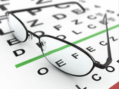 Eyeglasses and eye chart — Foto Stock