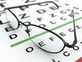 Okulary i wykres oko — Zdjęcie stockowe