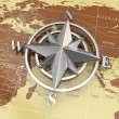 Navigation sign or compass on political map. — Stock Photo #24573947