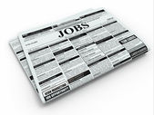 Search job. Newspaper with advertisments. — Foto de Stock