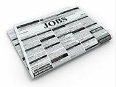 Trabalho de pesquisa. jornal com anúncios. — Foto Stock