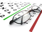 Dioptrické brýle a oční graf — Stock fotografie