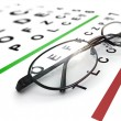 Eyeglasses and eye chart. - Stock Photo