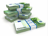 Packs of euro on white background. — Stock Photo