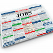 Search job. Newspaper with advertisments. 3d - Foto Stock