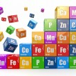Chemistry concept. Wall from cubes wiyh periodic table of elemen — Stock Photo