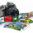 Photography. Slr camera, film and photos. — Stock Photo