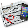 Search job. Newspaper with advertisments, glasses and mobile. — Foto de Stock