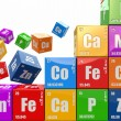 Chemistry concept. Wall from cubes wiyh periodic table of elemen — Stock Photo #27132083