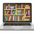 Stock Photo: E-learning education or internet library. Laptop and books.