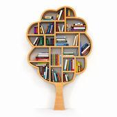 Tree of knowledge. Bookshelf on white background. — Stock Photo