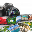Photography. Slr camera, film and photos. — Stockfoto