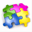 Jigsaw puzzle on white isolated background. — Stock Photo