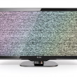 Stock Photo: HDTV tv with noise screen. 3d