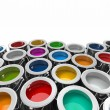 Stock Photo: Background from multi color cans of paint.