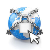 Internet security comcept. Earth and lock. — Stock Photo